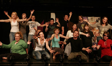The Cast of Urinetown Rehearsing